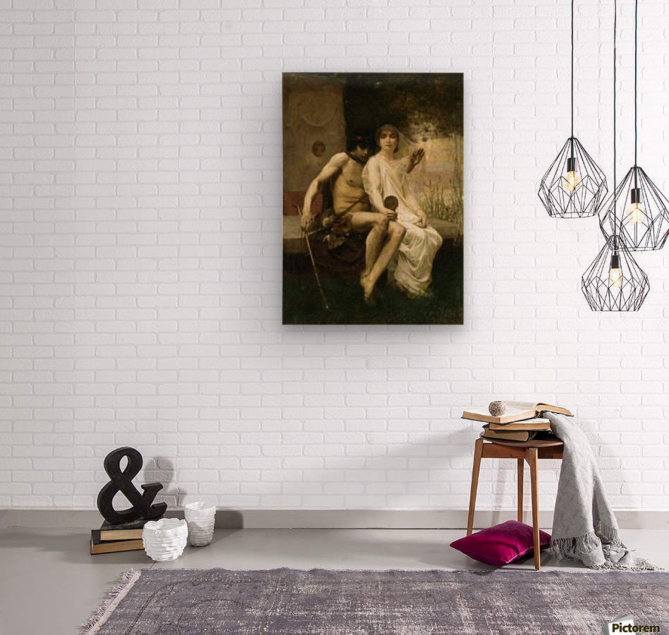 Eros and a young couple  Wood print