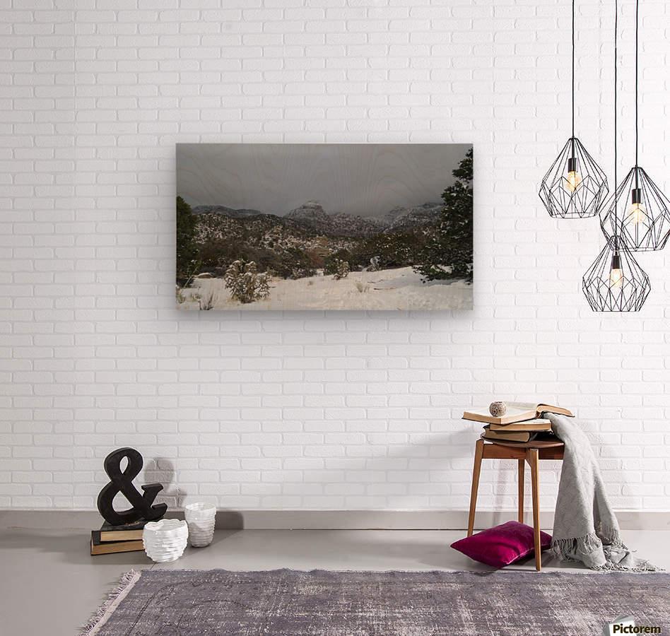 Sandia Mountains in the Snow 7 VP  Wood print