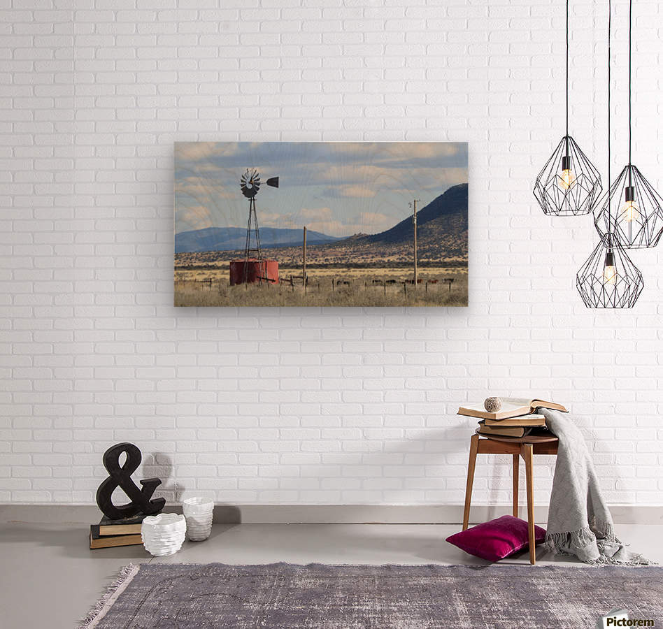 Windmill and Mountains VP1  Wood print