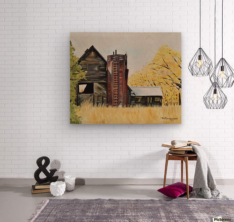 Golden Aged Barn -Washington - Red Silo   Wood print