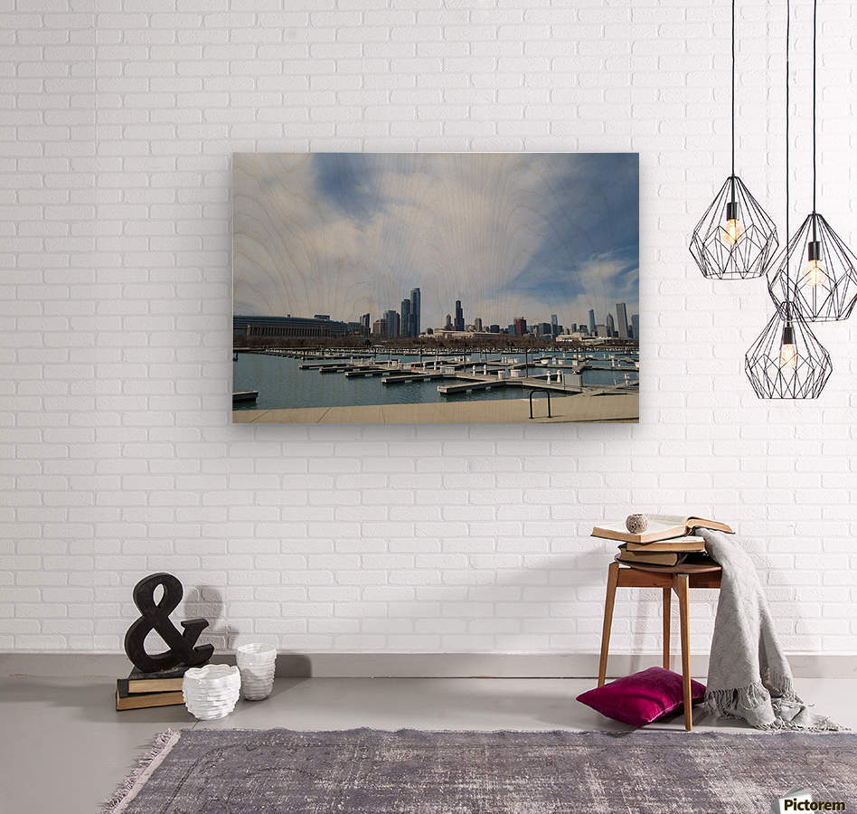 View of Burnham Harbor from Northerly Island  VP4  Wood print