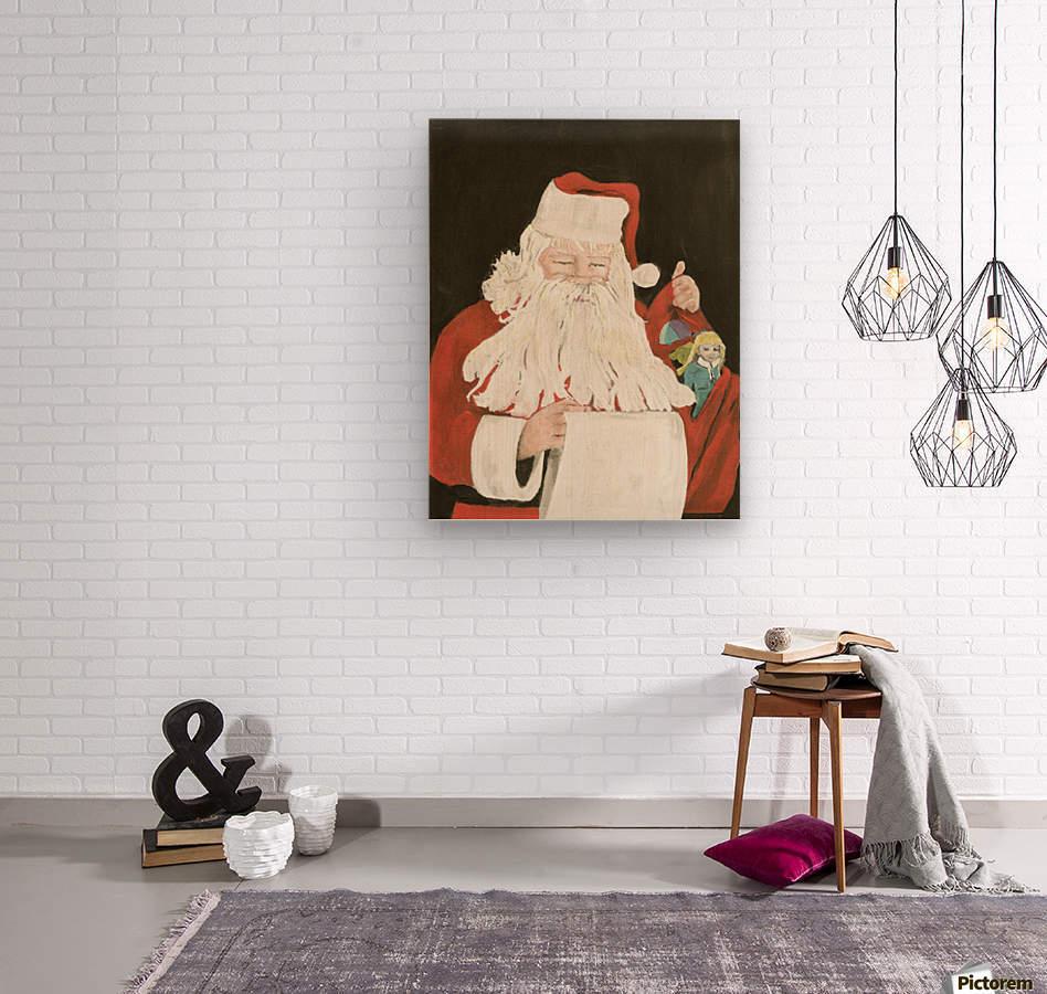 Santa making his list  Wood print