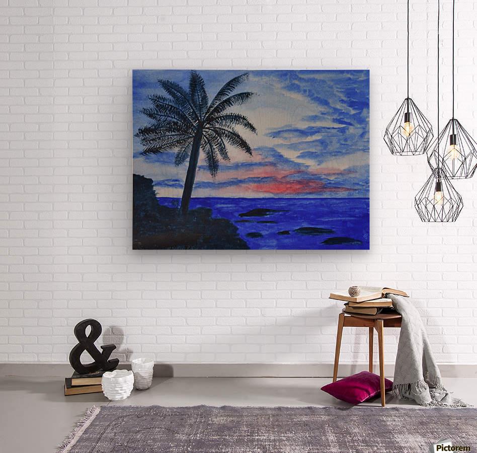 Dusk Ocean Scene  Wood print
