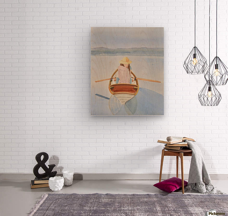 Girl in Rowboat  Wood print