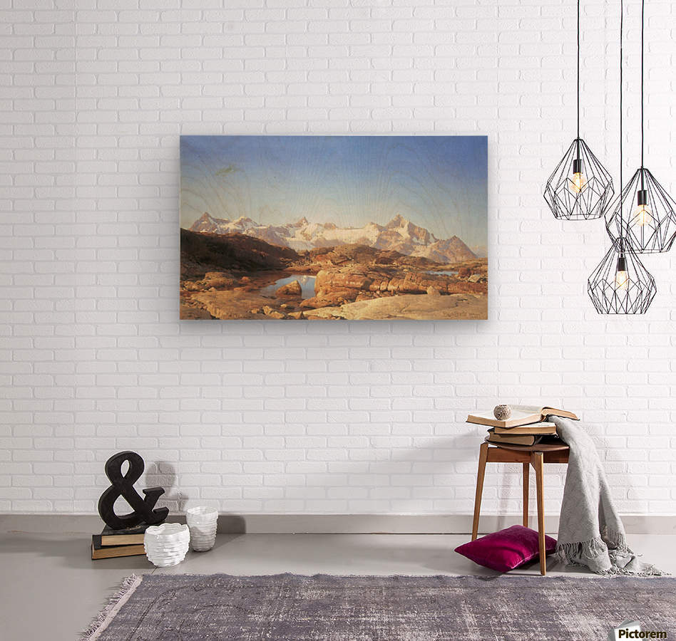 A lake surrounded by mountains  Wood print