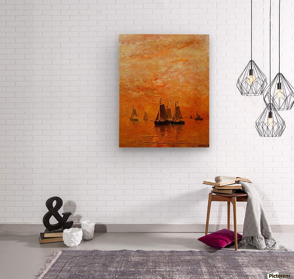 Ships on sunset  Wood print