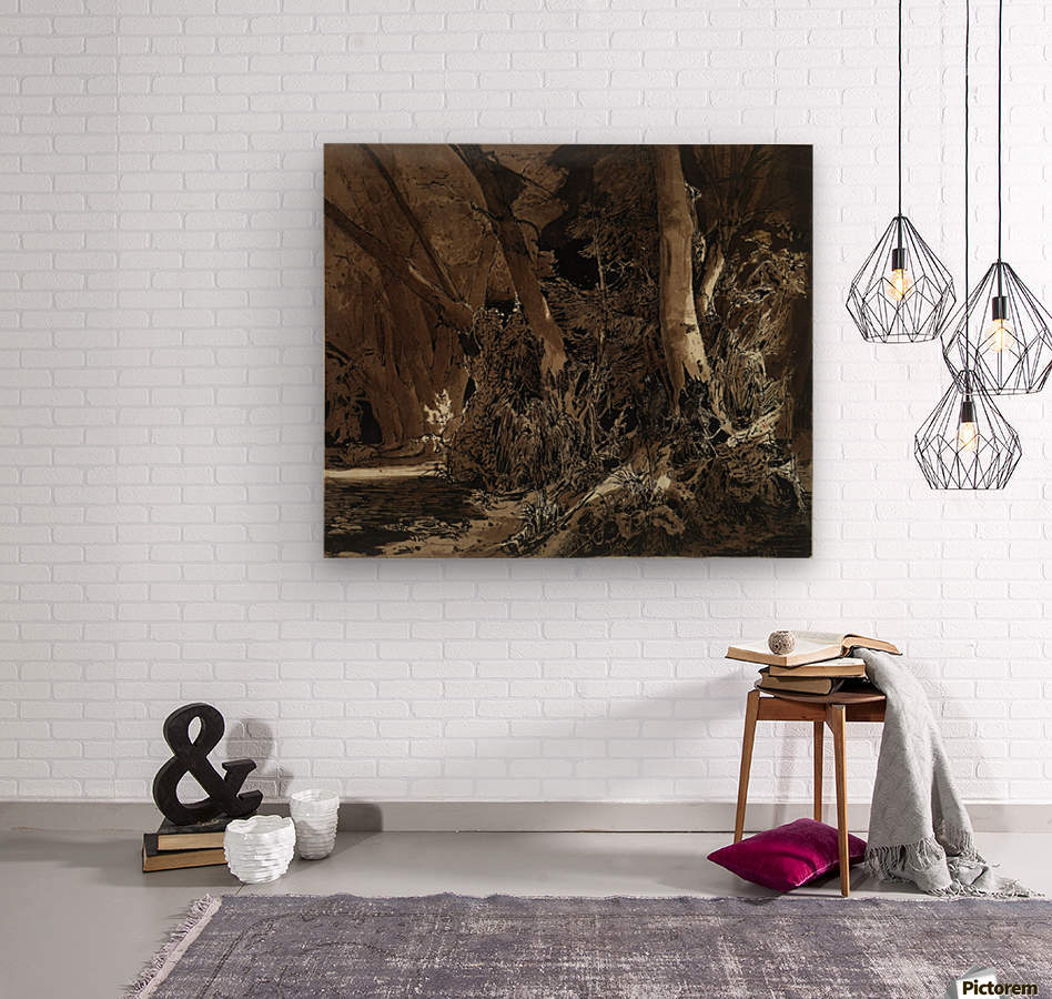 Forest landscape with flowing water and two hunters  Impression sur bois