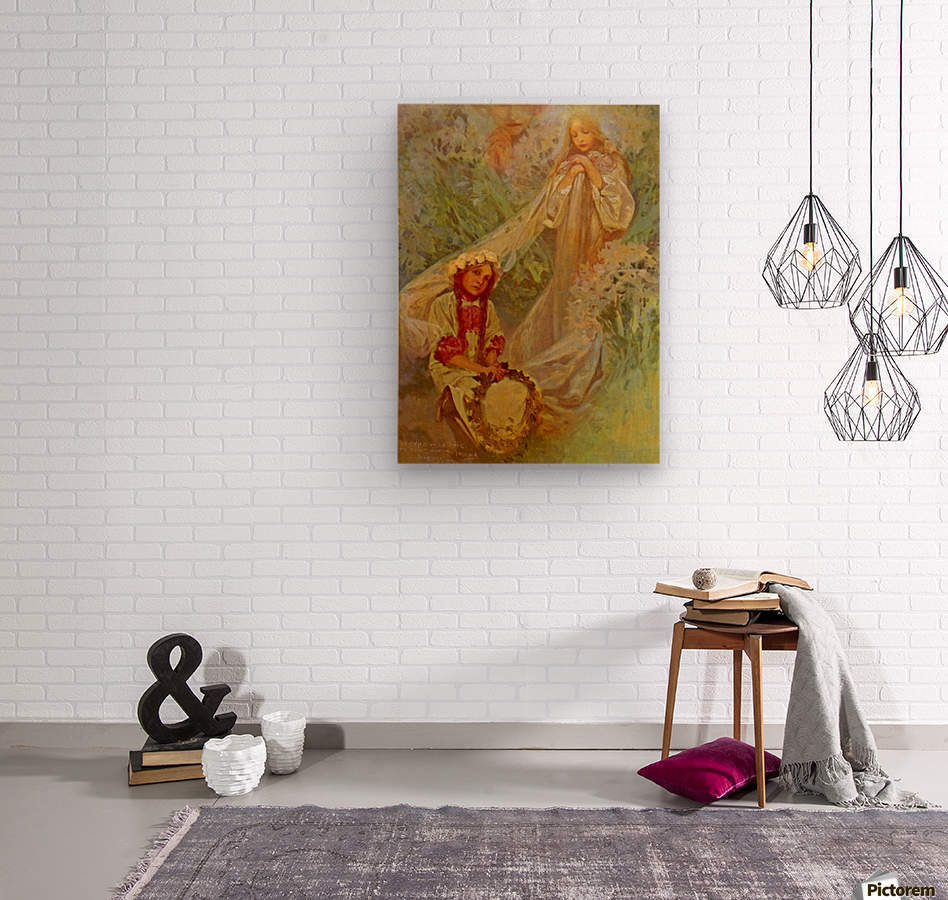 Madonna of the Lilies  Wood print