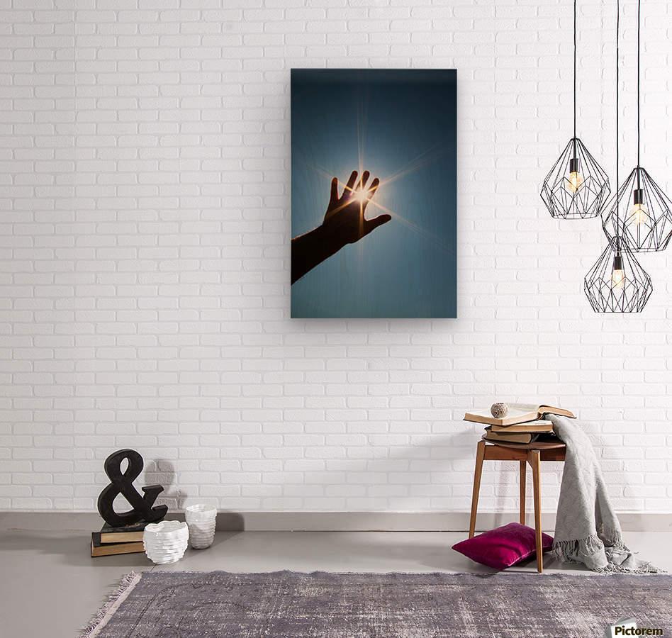 Hand Sunburst  Wood print