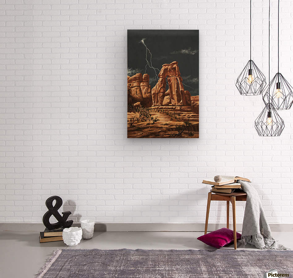 Storm over Druid Arch  Wood print