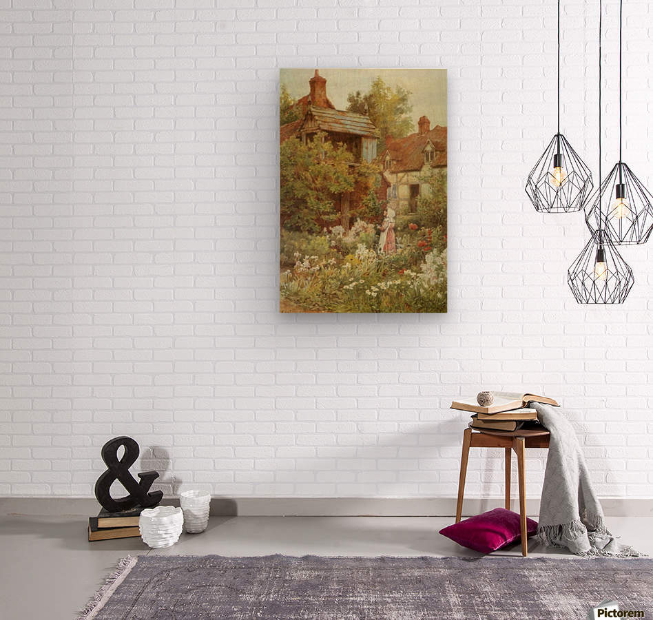 A young girl starring by the house  Wood print