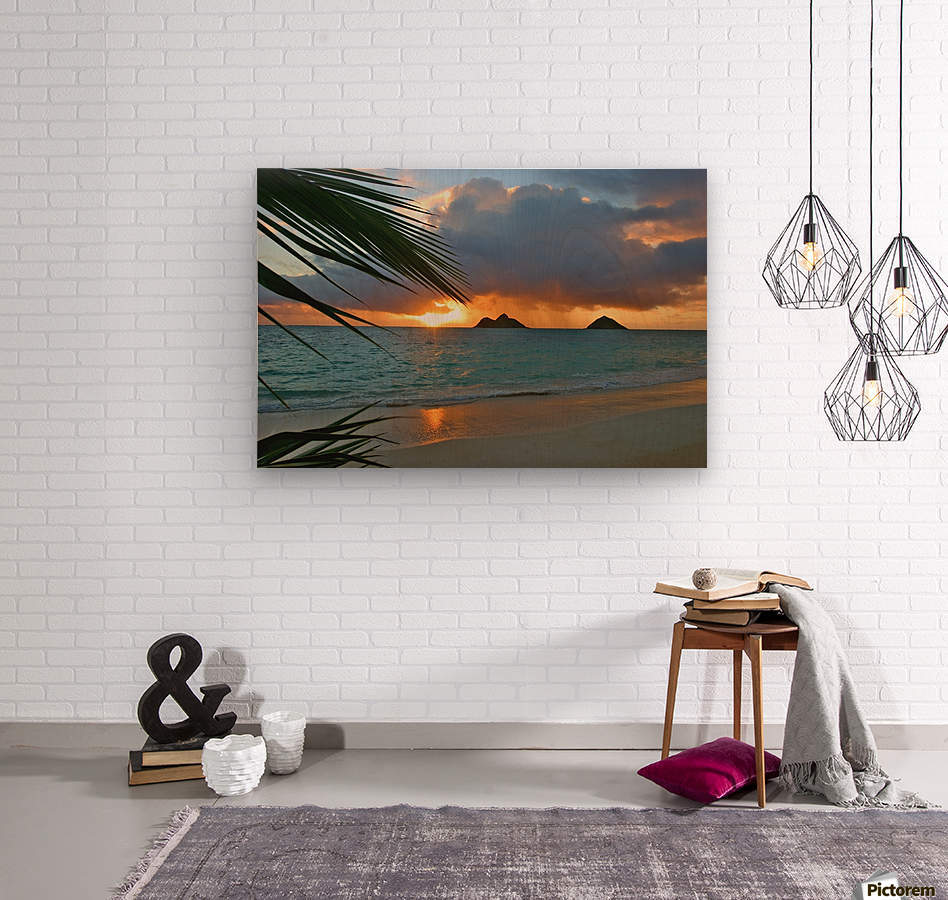 sunrise at Lanikai beach  Wood print
