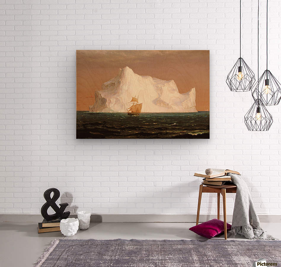 A boat sailling to an iceberg  Wood print