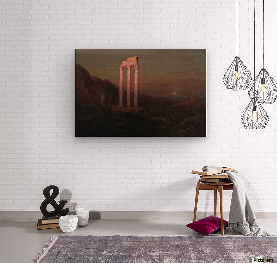Moonrise Over Greece  Wood print