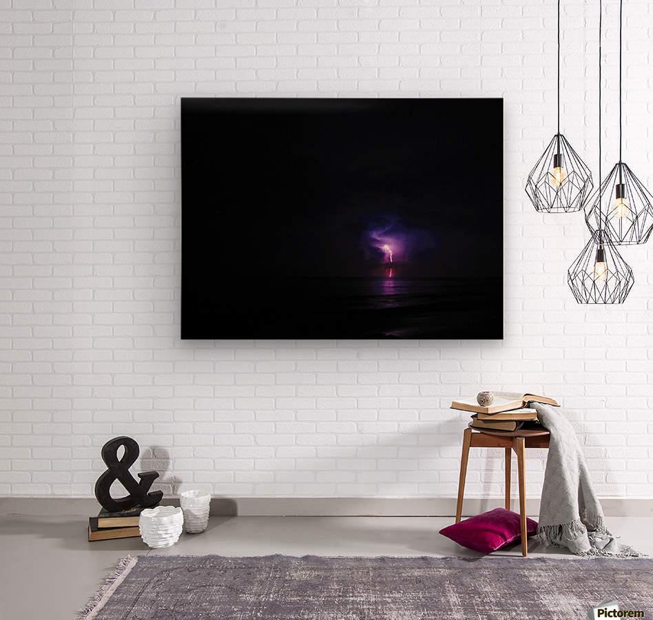 Lightning up the Sea  Wood print