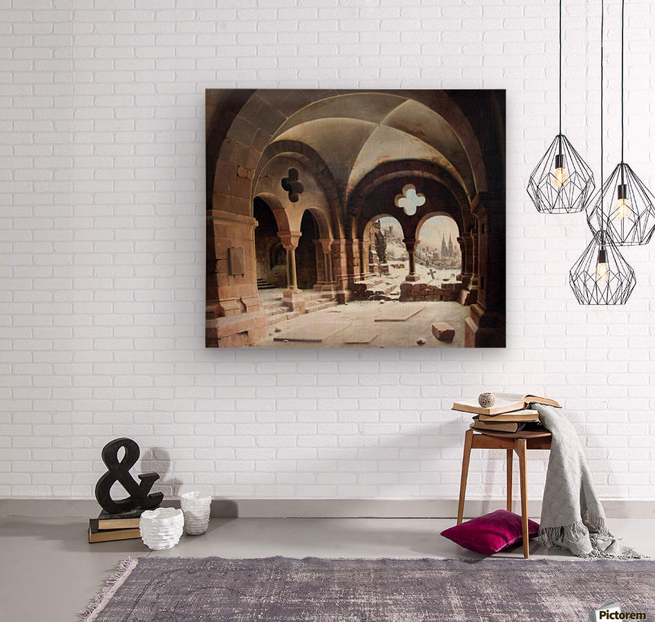 Abbey Cloister in Winter  Wood print