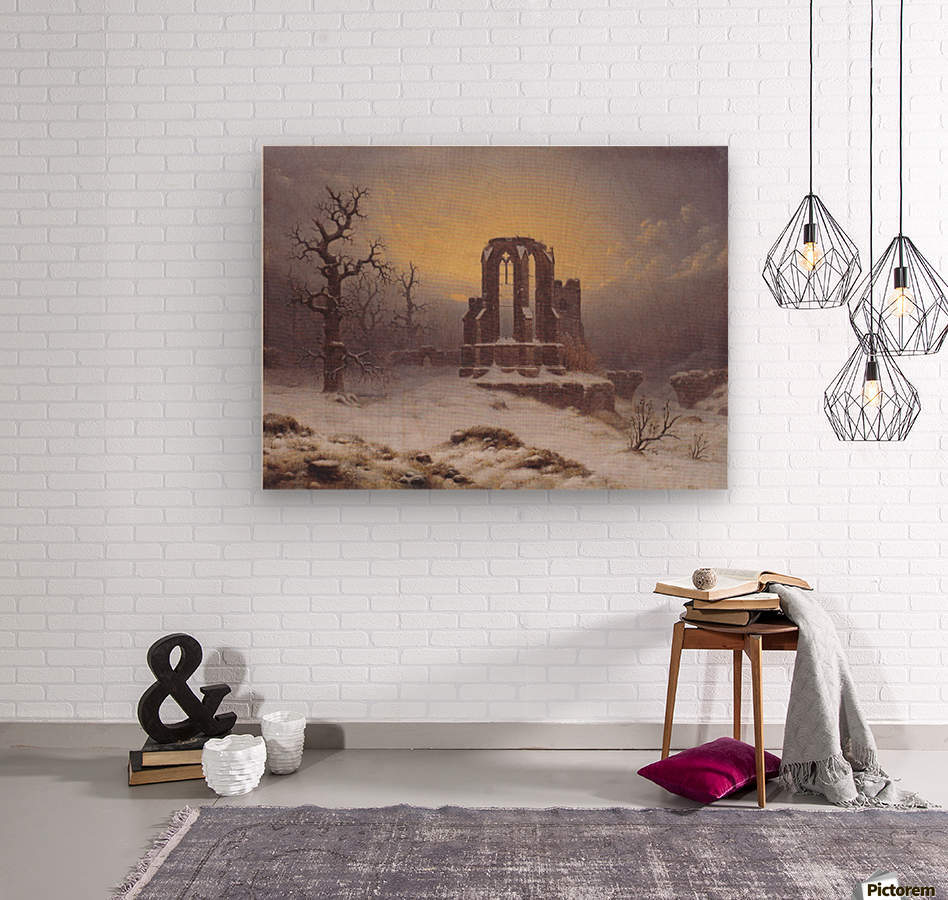 Church Ruine in the Snow  Wood print