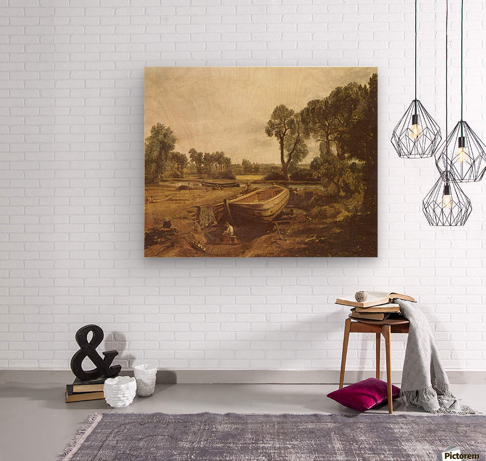 Landscape with a boat and a tree  Wood print