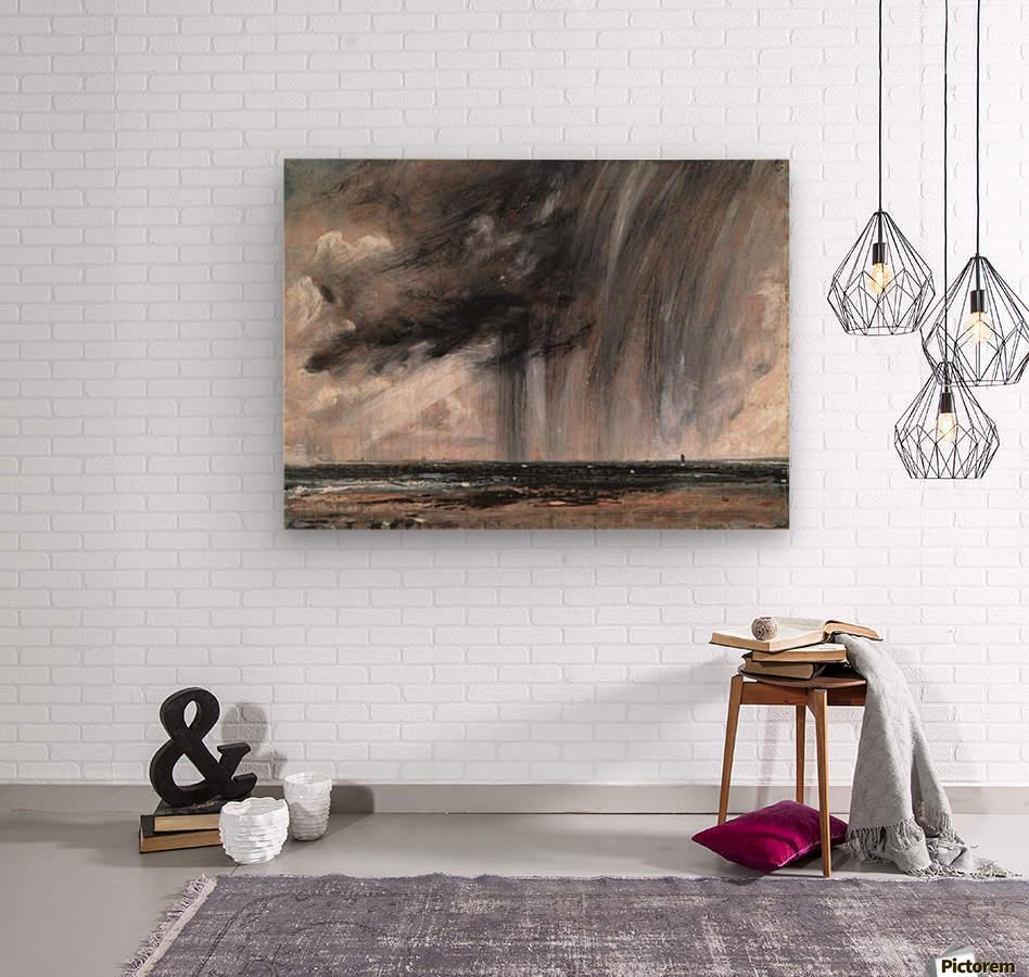Rainstorm over the sea  Wood print