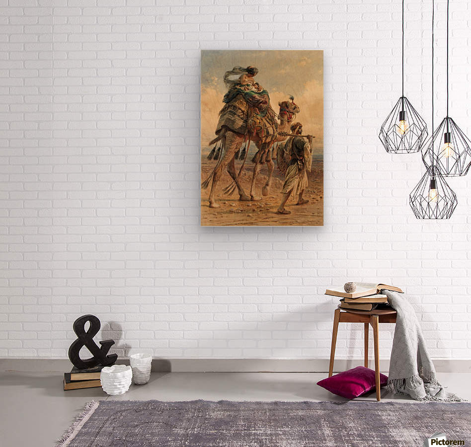 A family crossing the desert  Wood print