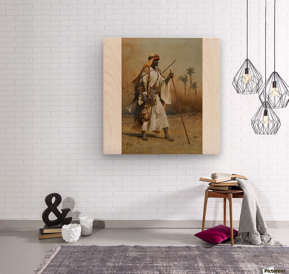 A warrior scouring the land  Wood print