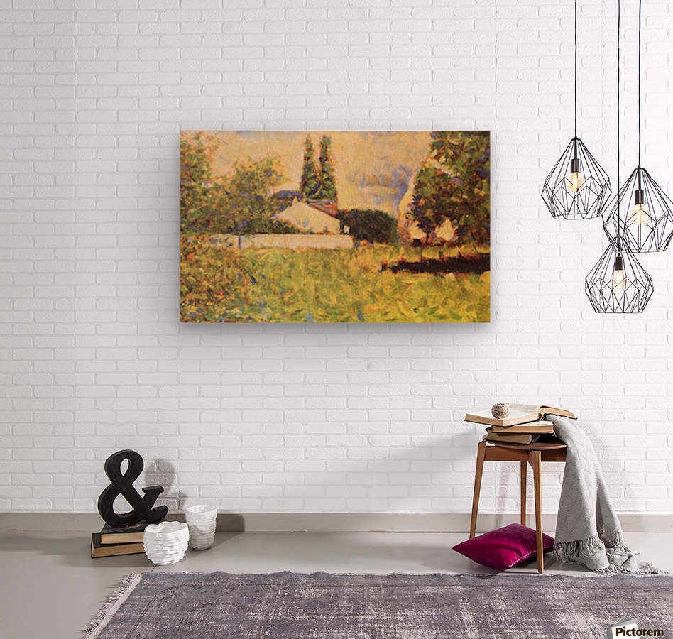 A house between trees by Seurat  Wood print
