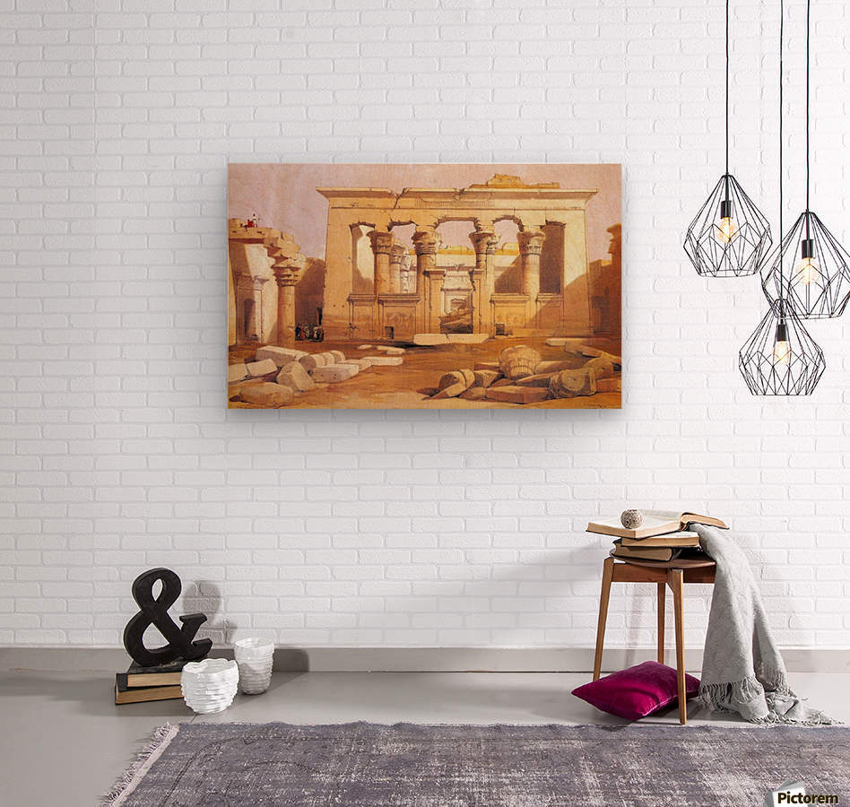 Ancient Egyptian civilization ruins with figures  Wood print