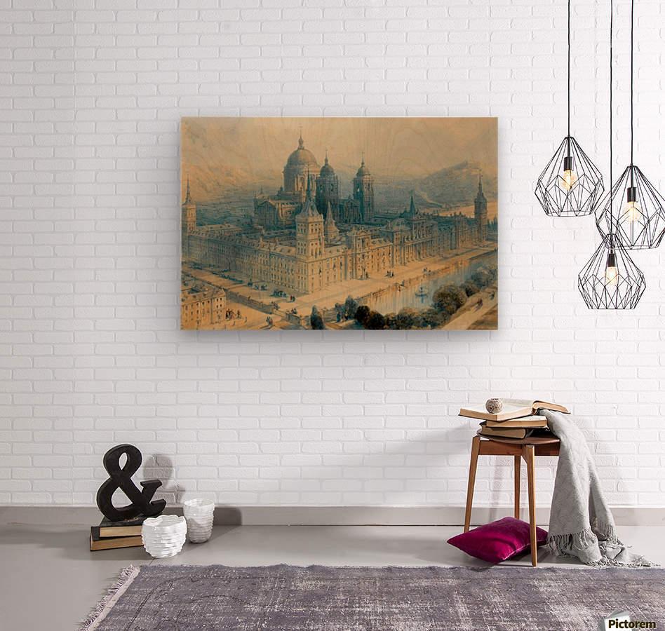 1836 The Palace of Escorial, Near Madrid, Spain  Wood print