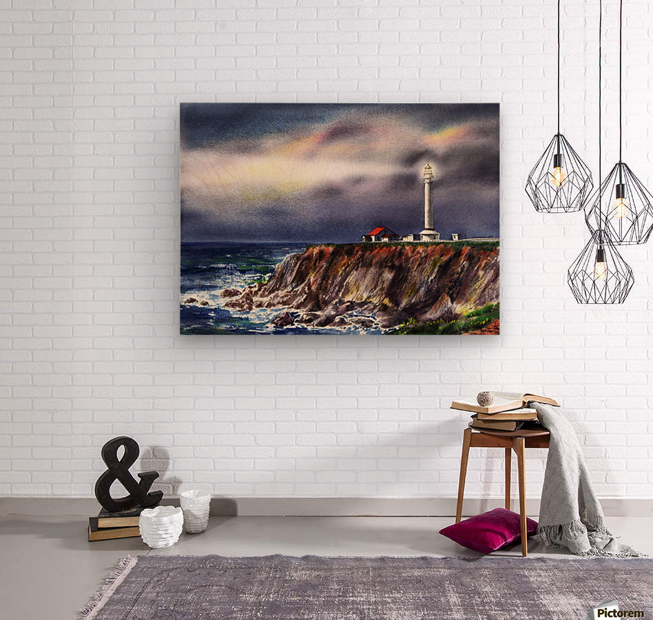 Lighthouse Point Arena At Night  Wood print
