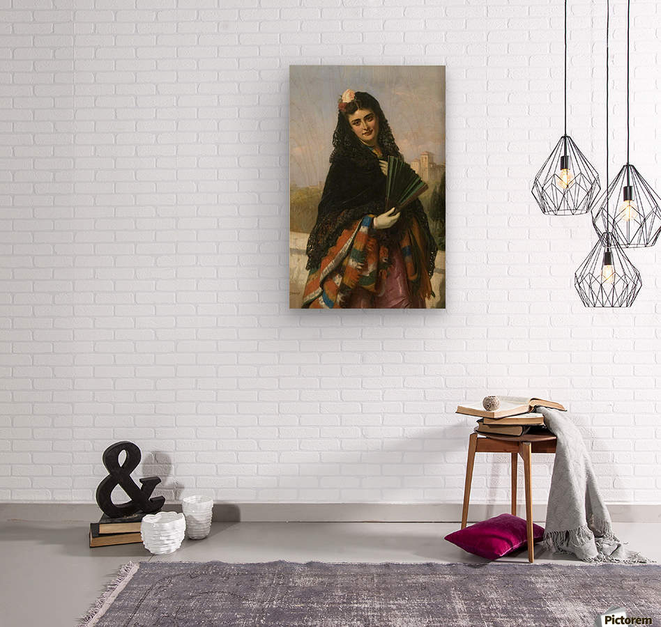 Spanish lady with a fan  Wood print