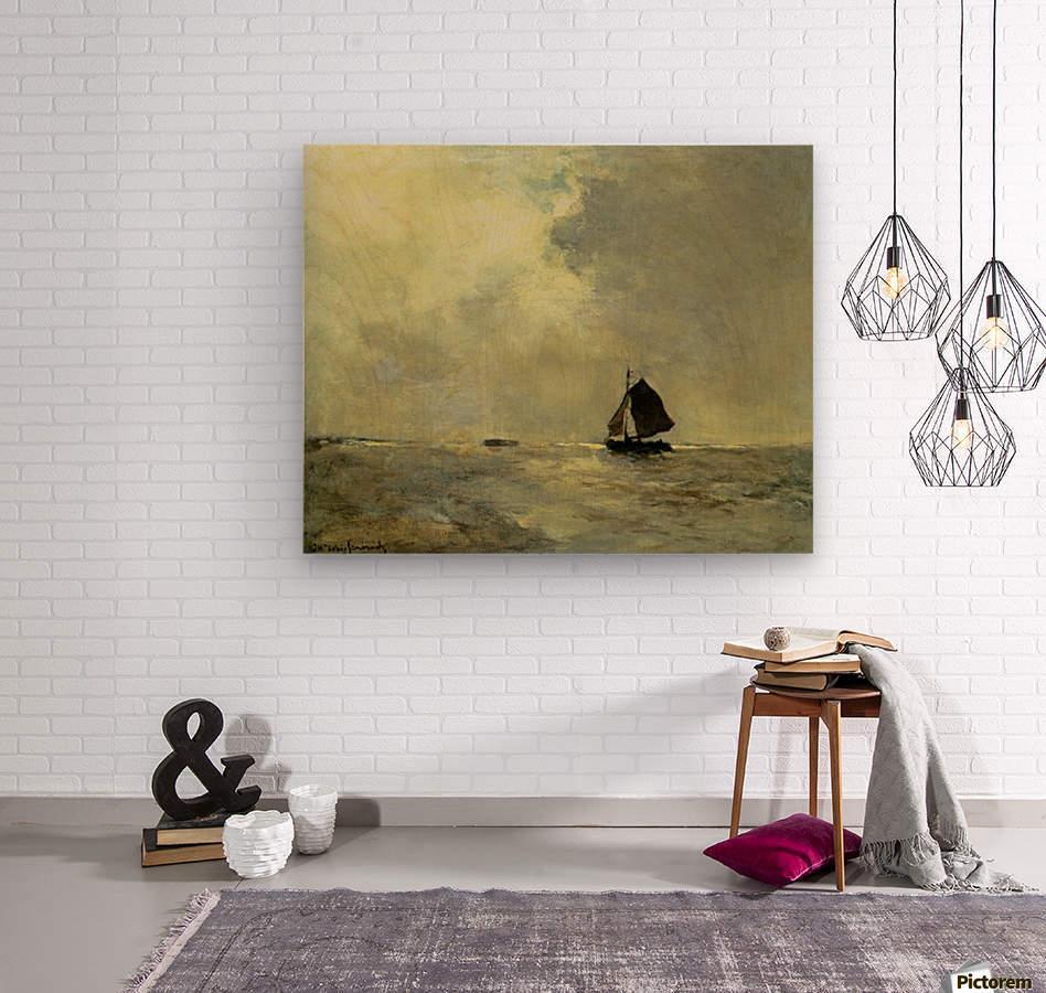 Sailing boat in choppy seas  Wood print
