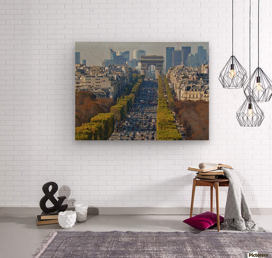 Arc d'Triompe up the Champs Elysees  Wood print