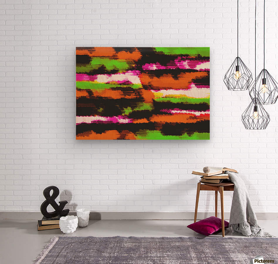 orange black pink green grunge painting texture abstract background  Wood print