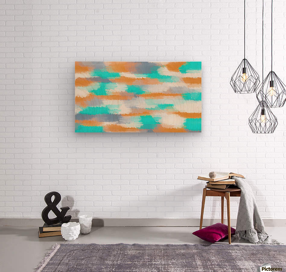 orange and blue painting abstract with white background  Wood print