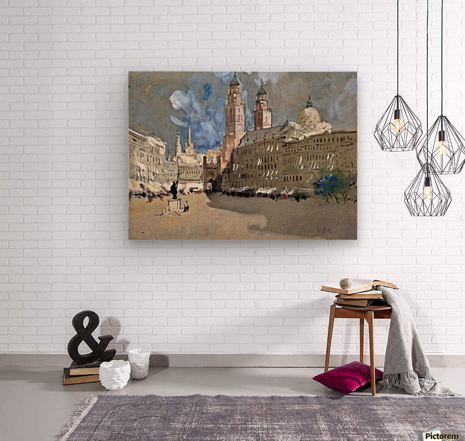 Great view of a large castle near market  Wood print
