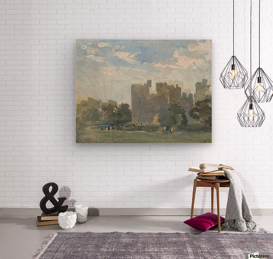 A moated castle  Wood print