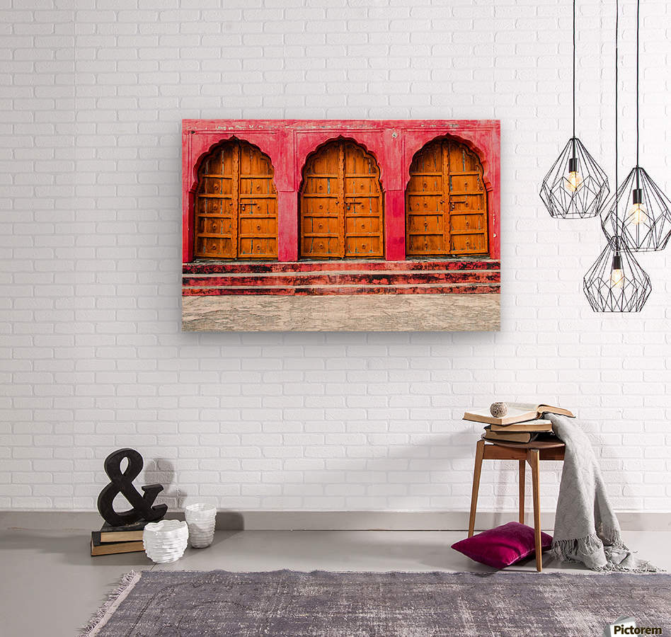 Doors of the Pink City   Wood print