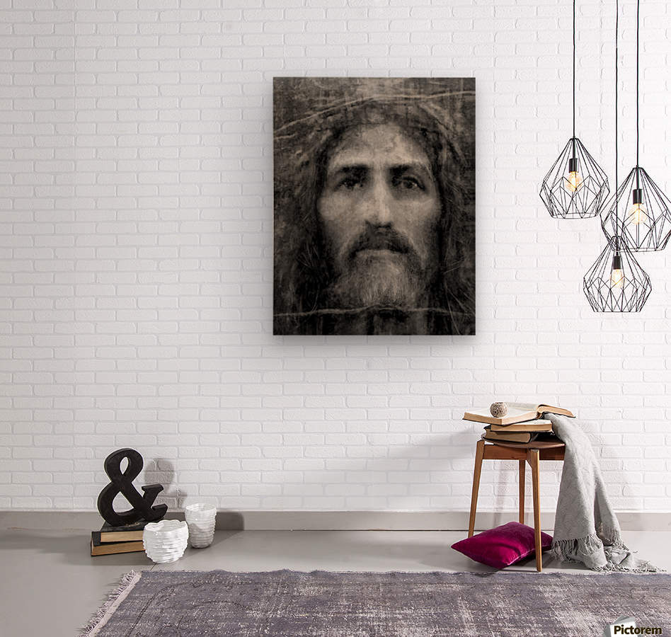Christ face reconstruction black and white  Wood print