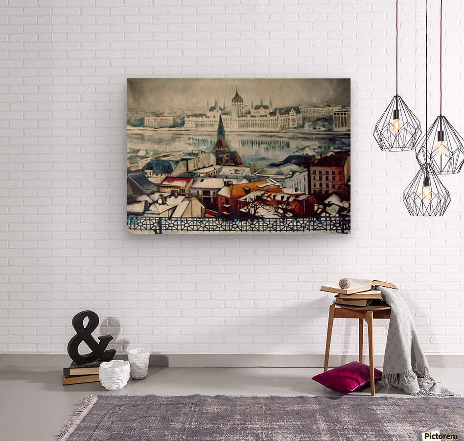 Budapest in wintertime  Wood print