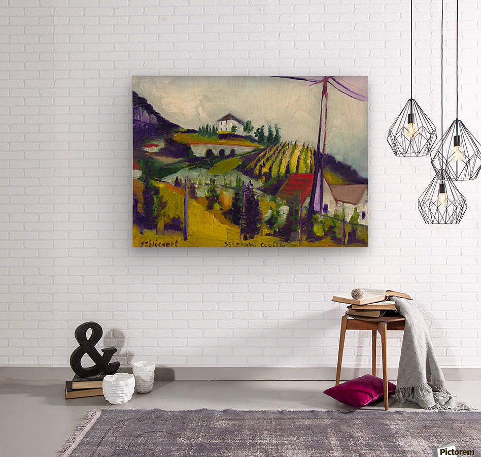 Vineyards on foothill  Wood print