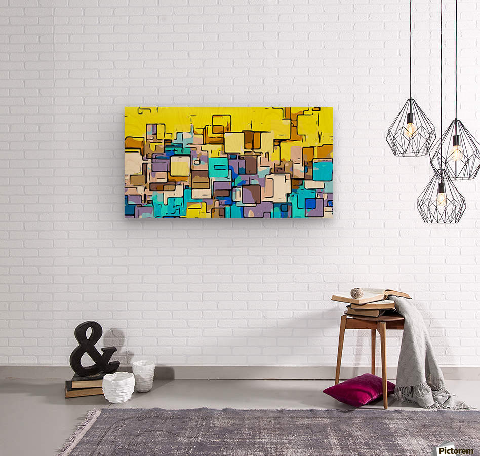 geometric graffiti square pattern abstract in yellow blue and brown  Wood print