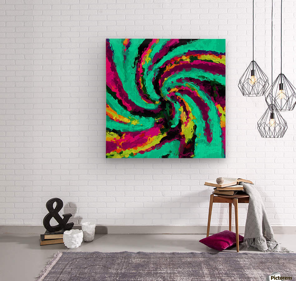 psychedelic graffiti watercolor painting abstract in green blue pink purple and yellow  Wood print