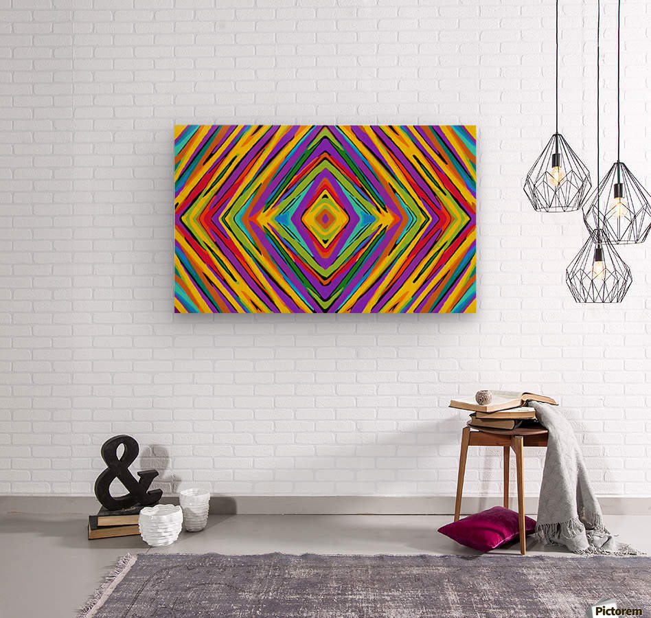 Psychedelic Geometric Graffiti Square Pattern Abstract In Blue Purple Pink Yellow Green Wood Print