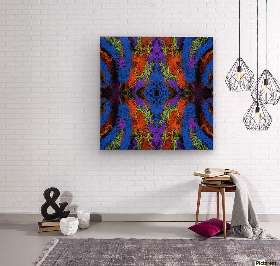 psychedelic graffiti geometric drawing abstract in blue purple orange yellow brown  Wood print