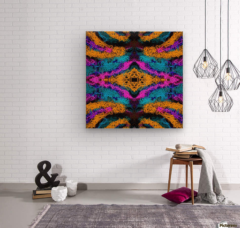 psychedelic graffiti geometric drawing abstract in pink orange blue  Wood print