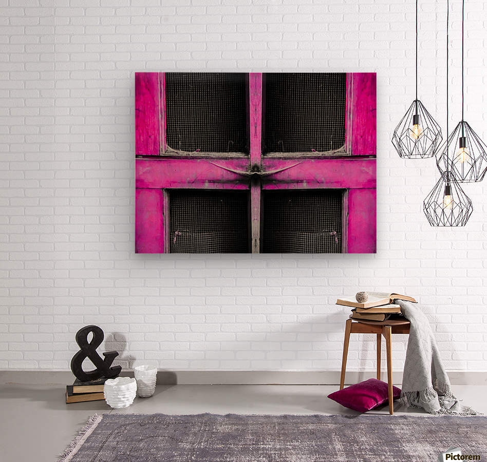 old pink wooden door abstract background  Wood print