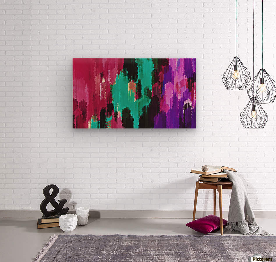 red pink purple green and black painting abstract background  Wood print