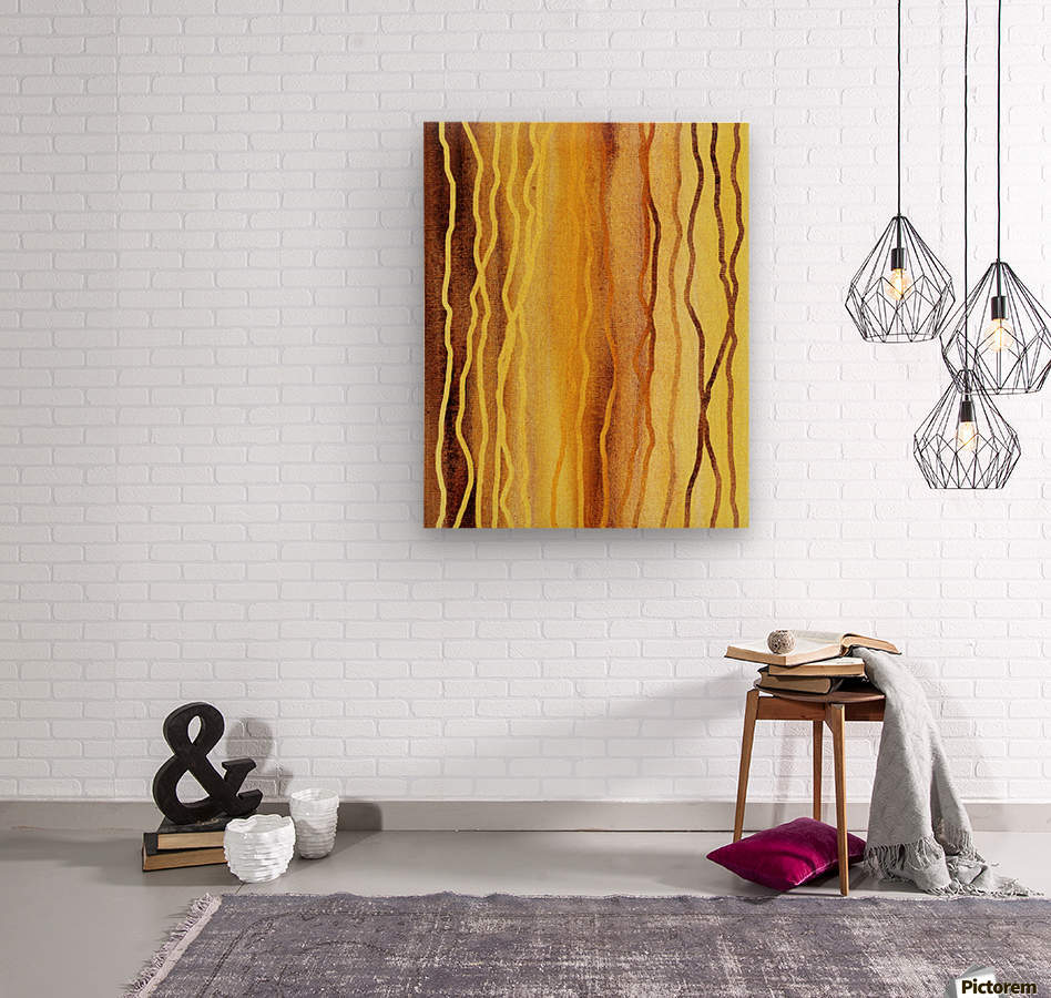 Organic Lines Beige Abstract  Wood print
