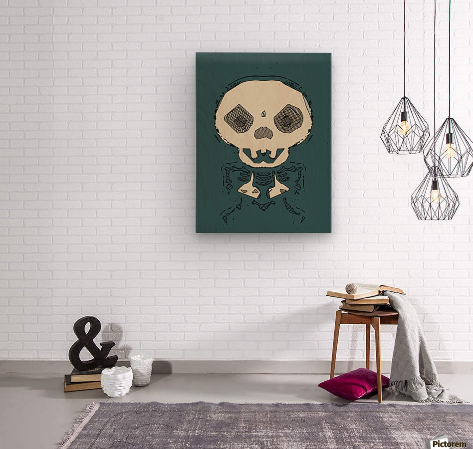 skull and bone graffiti drawing with green background  Wood print