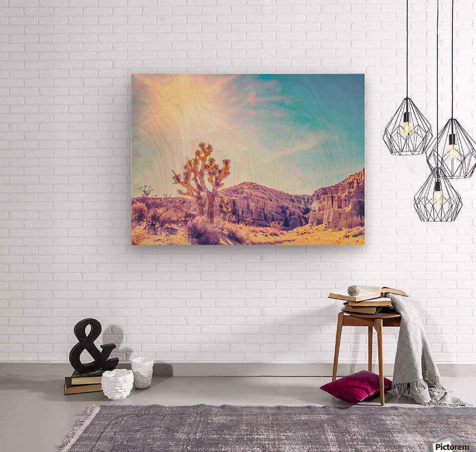 cactus at the desert in summer with strong sunlight  Wood print